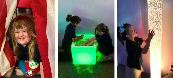 Children enjoying sensory room.
